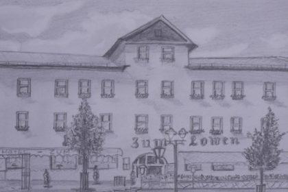 Bleistiftzeichnung des Hotels zum Löwen